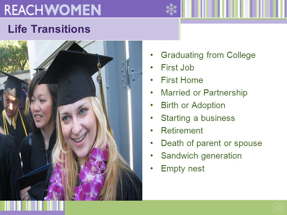 Life Transitions Graduating from College First Job First Home Married or Partnership Birth or Adoption Starting a business Retirement Death of parent or spouse Sandwich generation Empty nest
