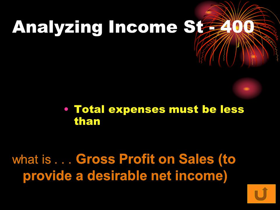 Analyzing Income St - 400 Total expenses must be less than what is... Gross Profit on Sales (to provide a desirable net income)