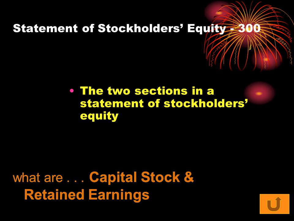 Statement of Stockholders' Equity - 300 The two sections in a statement of stockholders' equity what are... Capital Stock & Retained Earnings