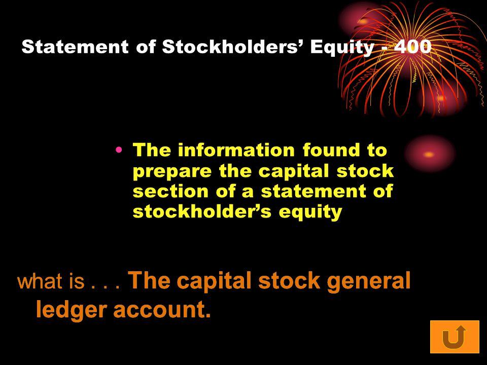 Statement of Stockholders' Equity - 400 The information found to prepare the capital stock section of a statement of stockholder's equity what is... T