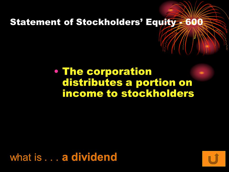 Statement of Stockholders' Equity - 600 The corporation distributes a portion on income to stockholders what is...