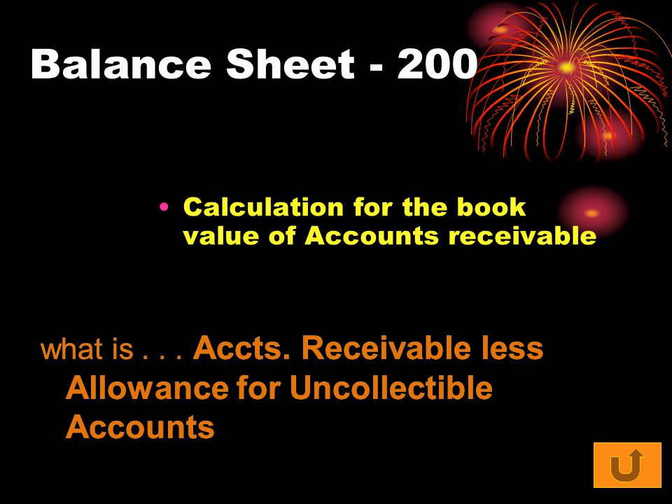 Balance Sheet - 200 Calculation for the book value of Accounts receivable what is...