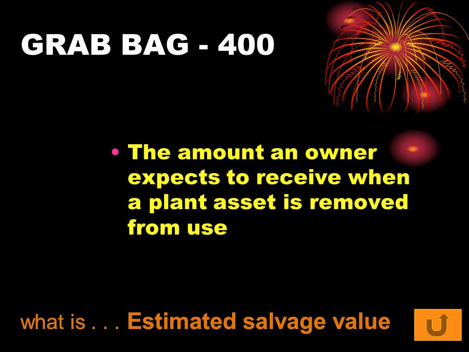 GRAB BAG - 400 The amount an owner expects to receive when a plant asset is removed from use what is... Estimated salvage value