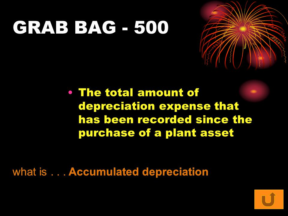GRAB BAG - 500 The total amount of depreciation expense that has been recorded since the purchase of a plant asset what is... Accumulated depreciation