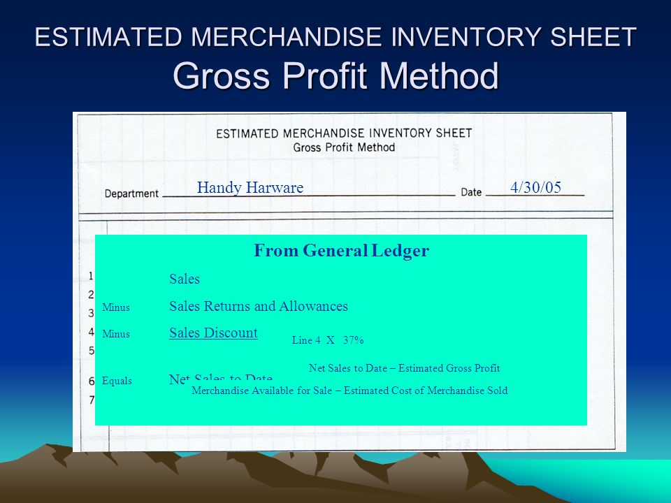 ESTIMATED MERCHANDISE INVENTORY SHEET Retail Method Work Together 6-3 Handy Hardware 04/30/05 124,850.00 73,230.00 198,080.00 107,736.48 65.2 138,500.00 165,240.00 193,400.00 110,340.00 303,740.00 Merch avail.