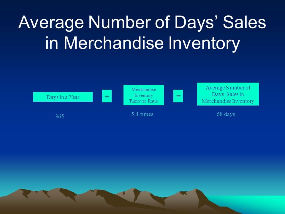 Average Number of Days' Sales in Merchandise Inventory 365 68 days5.4 times Days in a Year Merchandise Inventory Turnover Ratio ÷= Average Number of Days' Sales in Merchandise Inventory