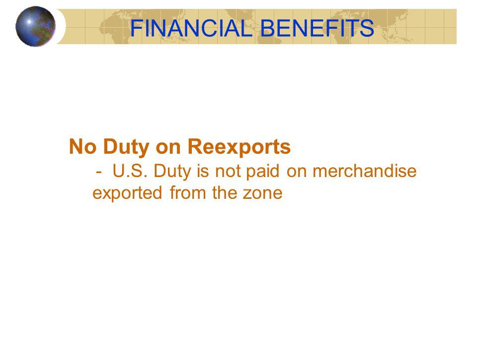 FINANCIAL BENEFITS No Duty on Reexports - U.S.