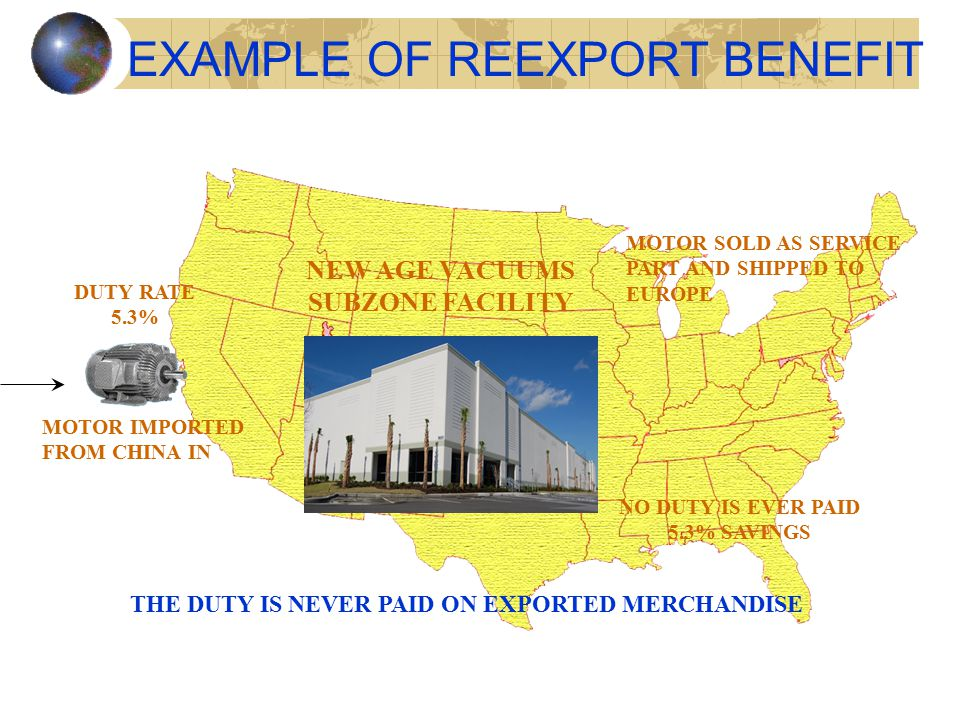 EXAMPLE OF REEXPORT BENEFIT MOTOR IMPORTED FROM CHINA IN DUTY RATE 5.3% NEW AGE VACUUMS SUBZONE FACILITY MOTOR SOLD AS SERVICE PART AND SHIPPED TO EUROPE NO DUTY IS EVER PAID 5.3% SAVINGS THE DUTY IS NEVER PAID ON EXPORTED MERCHANDISE