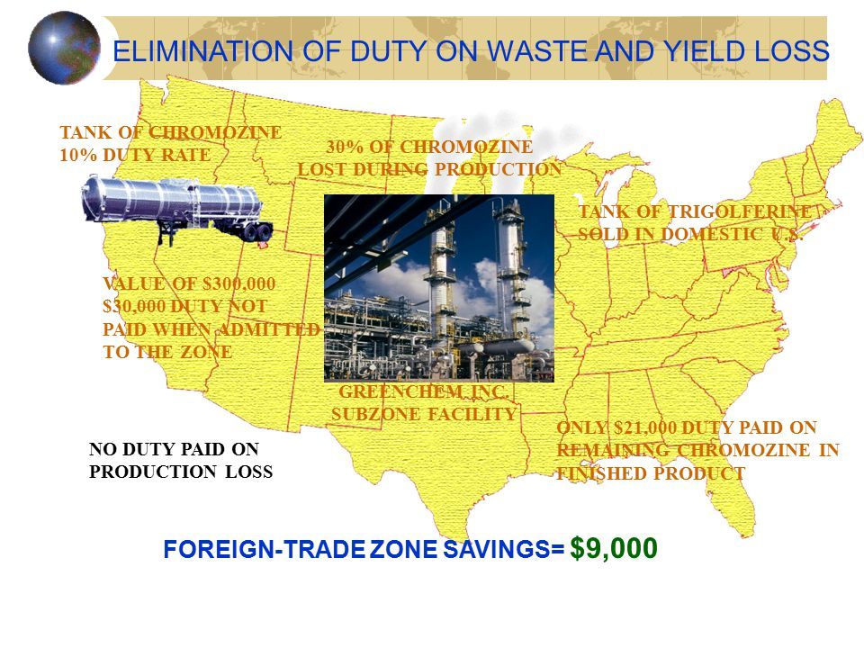 ELIMINATION OF DUTY ON WASTE AND YIELD LOSS TANK OF CHROMOZINE 10% DUTY RATE VALUE OF $300,000 $30,000 DUTY NOT PAID WHEN ADMITTED TO THE ZONE 30% OF