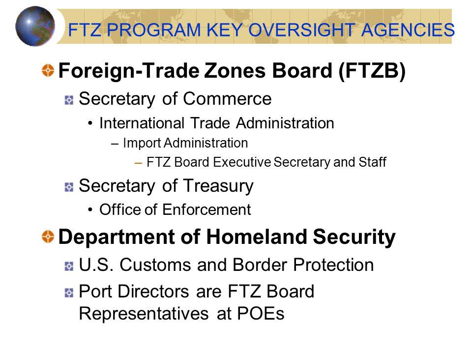 FTZ PROGRAM KEY OVERSIGHT AGENCIES Foreign-Trade Zones Board (FTZB) Secretary of Commerce International Trade Administration –Import Administration –F