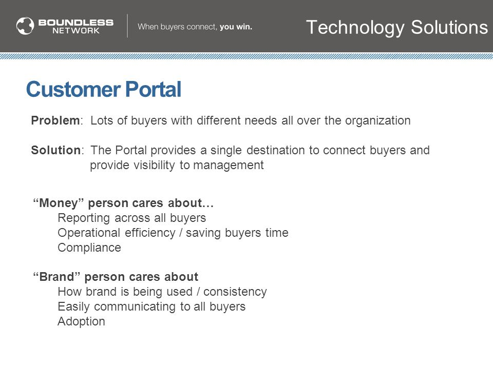 "Technology Solutions Customer Portal ""Money"" person cares about… Reporting across all buyers Operational efficiency / saving buyers time Compliance ""B"