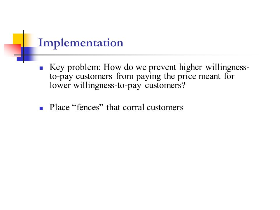 Implementation Key problem: How do we prevent higher willingness- to-pay customers from paying the price meant for lower willingness-to-pay customers?