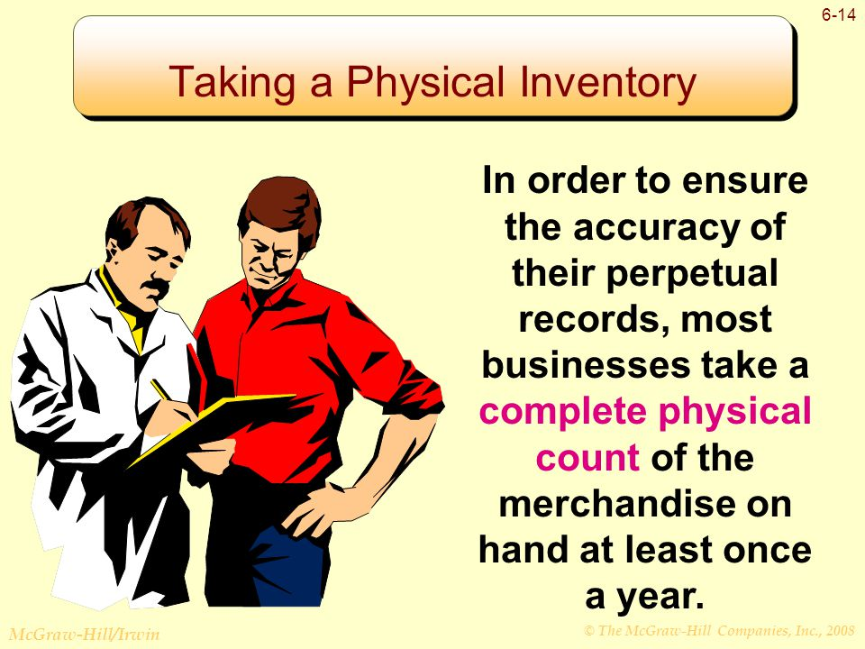 © The McGraw-Hill Companies, Inc., 2008 McGraw-Hill/Irwin 6-14 Taking a Physical Inventory In order to ensure the accuracy of their perpetual records, most businesses take a complete physical count of the merchandise on hand at least once a year.