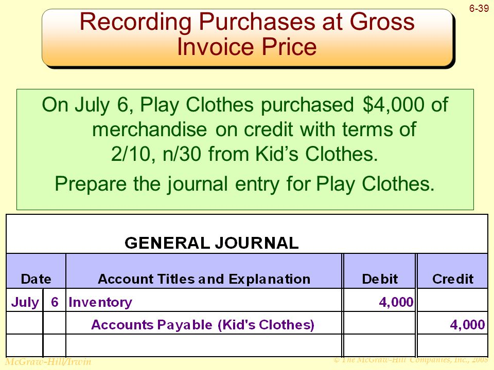 © The McGraw-Hill Companies, Inc., 2008 McGraw-Hill/Irwin 6-39 Recording Purchases at Gross Invoice Price On July 6, Play Clothes purchased $4,000 of merchandise on credit with terms of 2/10, n/30 from Kid's Clothes.