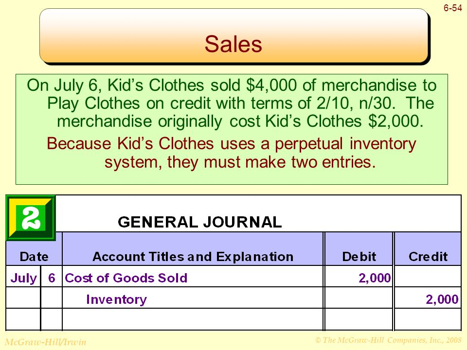 © The McGraw-Hill Companies, Inc., 2008 McGraw-Hill/Irwin 6-54 Sales On July 6, Kid's Clothes sold $4,000 of merchandise to Play Clothes on credit with terms of 2/10, n/30.