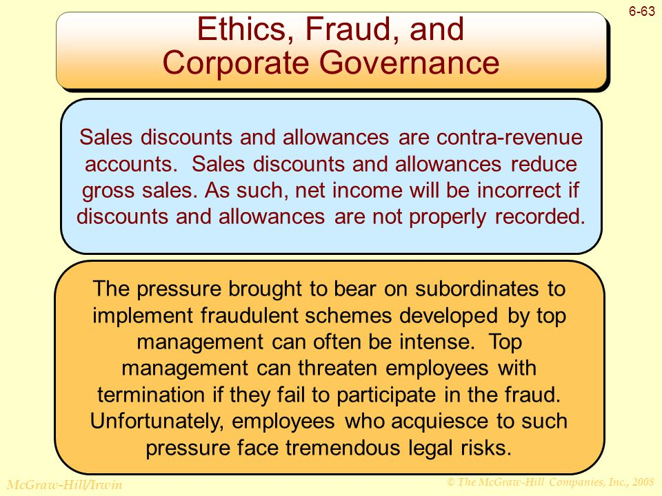 © The McGraw-Hill Companies, Inc., 2008 McGraw-Hill/Irwin 6-63 Ethics, Fraud, and Corporate Governance Sales discounts and allowances are contra-revenue accounts.