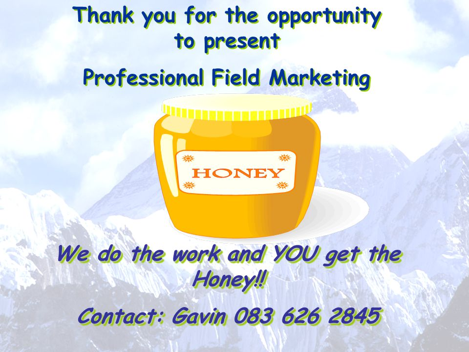 Thank you for the opportunity to present Professional Field Marketing \ We do the work and YOU get the Honey!! Contact: Gavin 083 626 2845 Thank you f