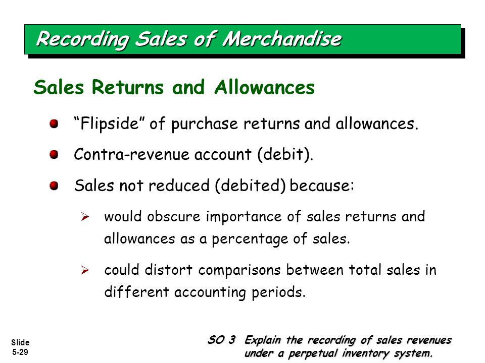 """Slide 5-29 """"Flipside"""" of purchase returns and allowances. Contra-revenue account (debit). Sales not reduced (debited) because:  would obscure importa"""