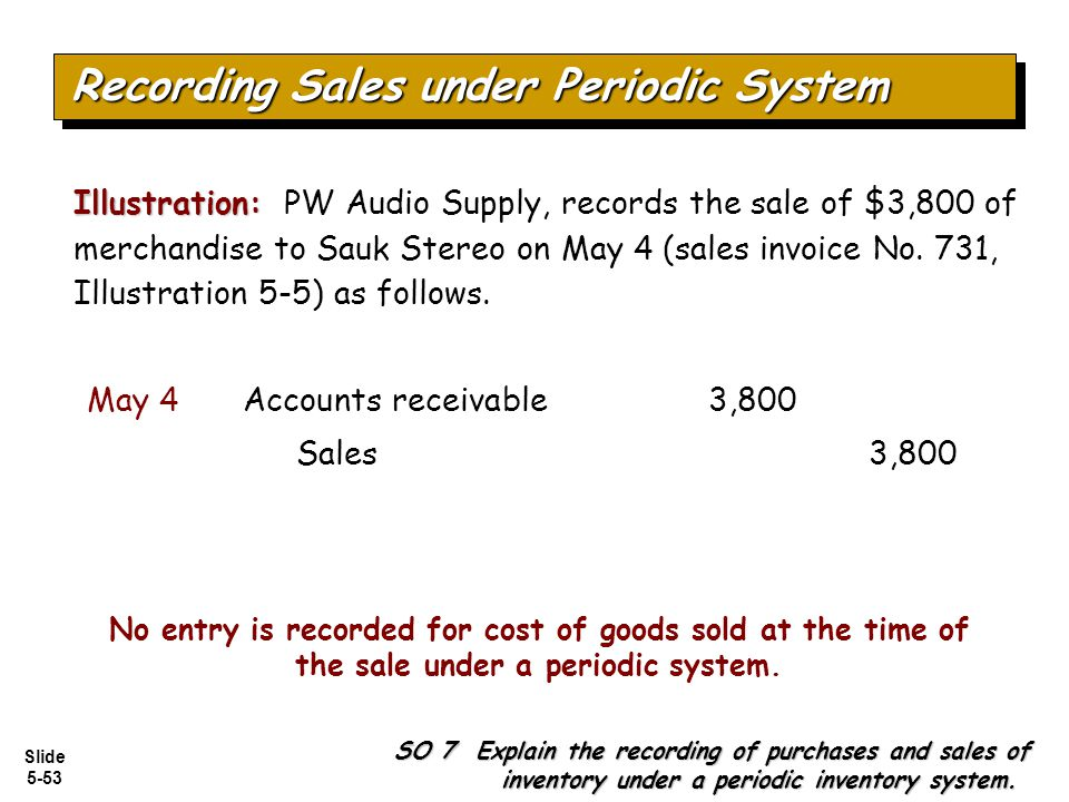 Slide 5-53 No entry is recorded for cost of goods sold at the time of the sale under a periodic system. SO 7 Explain the recording of purchases and sa