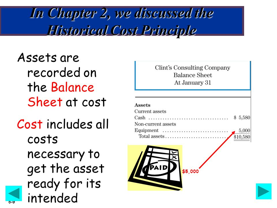 Slide 5-10 The Historical Cost Principle also applies to Inventory oInventory is a Current Asset oIt is recorded on the Balance Sheet at Historical Cost oCost includes all costs necessary to get the inventory ready for its intended purpose oLet's look at the cost components for Inventory…..