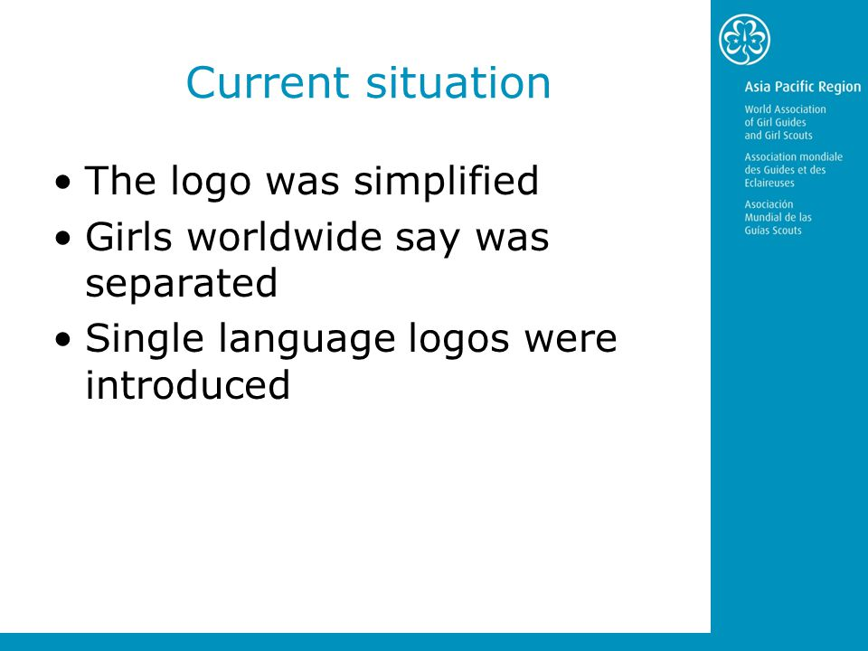 Current situation The logo was simplified Girls worldwide say was separated Single language logos were introduced