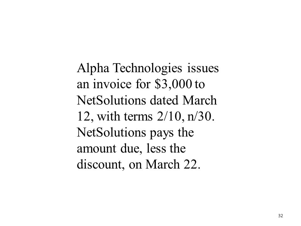 Alpha Technologies issues an invoice for $3,000 to NetSolutions dated March 12, with terms 2/10, n/30. NetSolutions pays the amount due, less the disc