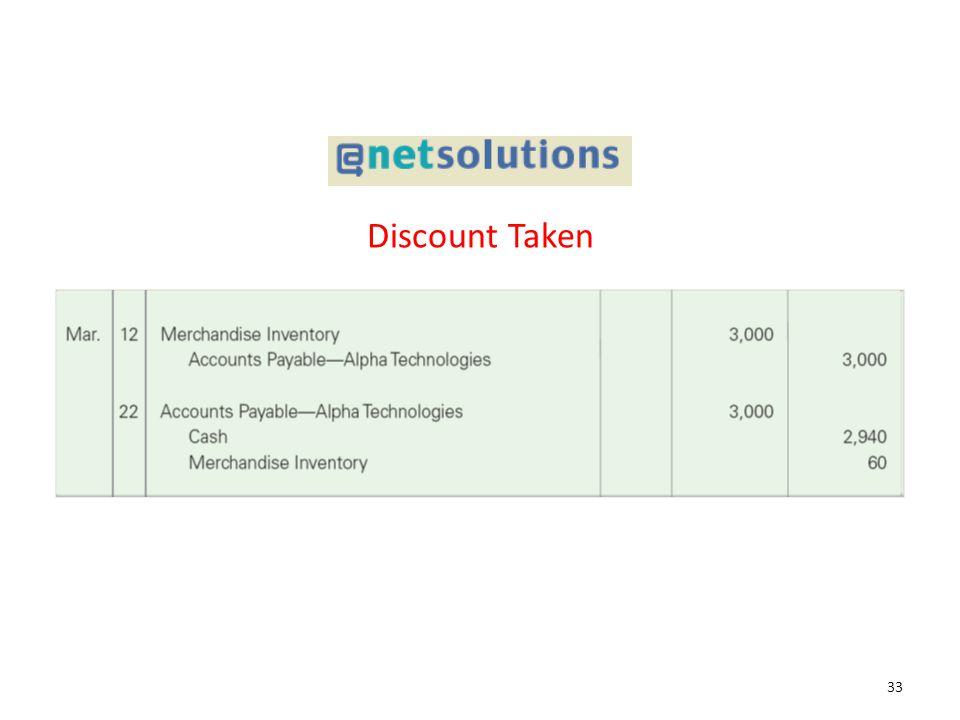 Discount Taken 33