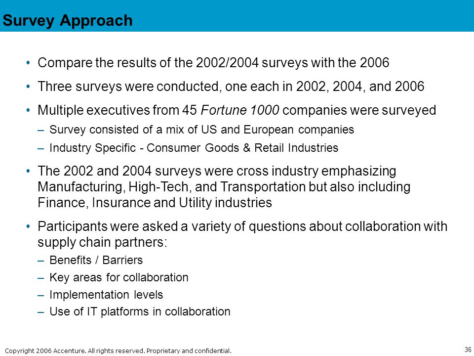36 Copyright © 2006 Accenture All Rights Reserved. Copyright 2006 Accenture. All rights reserved. Proprietary and confidential. Survey Approach Compar