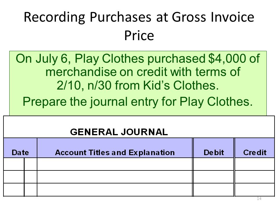 Recording Purchases at Gross Invoice Price On July 6, Play Clothes purchased $4,000 of merchandise on credit with terms of 2/10, n/30 from Kid's Clothes.