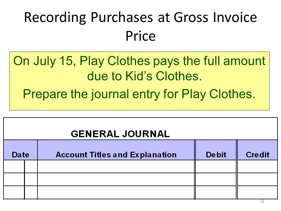 Recording Purchases at Gross Invoice Price On July 15, Play Clothes pays the full amount due to Kid's Clothes.