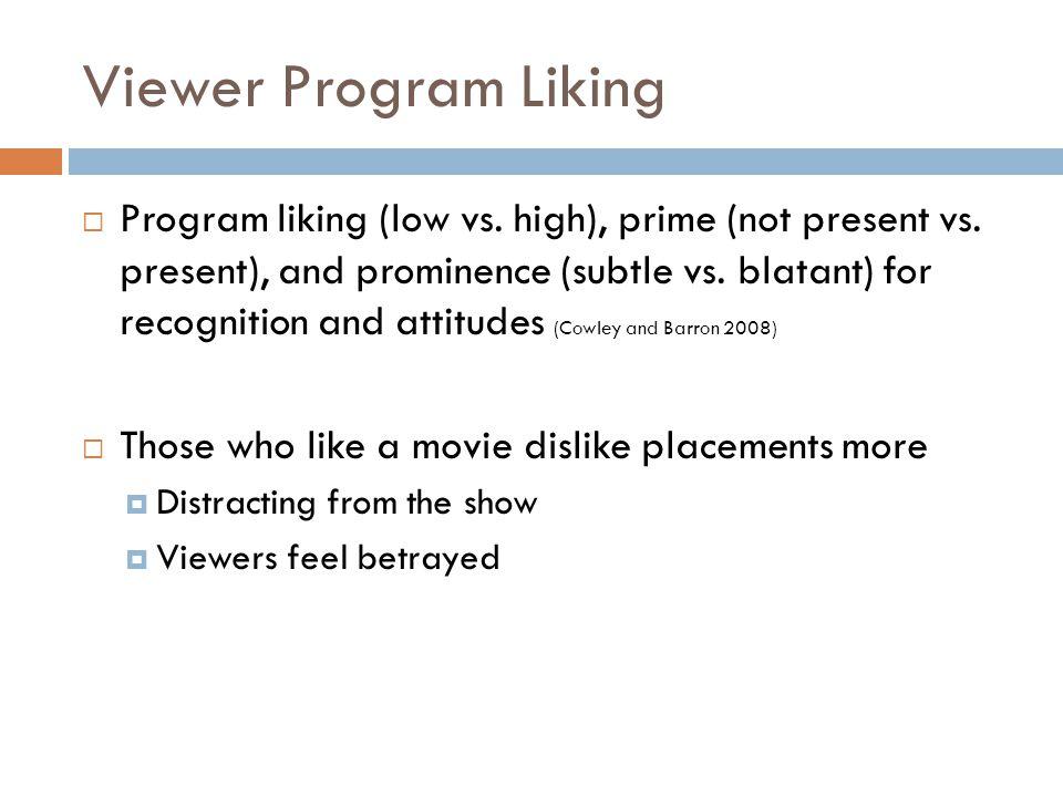 Viewer Program Liking  Program liking (low vs. high), prime (not present vs.