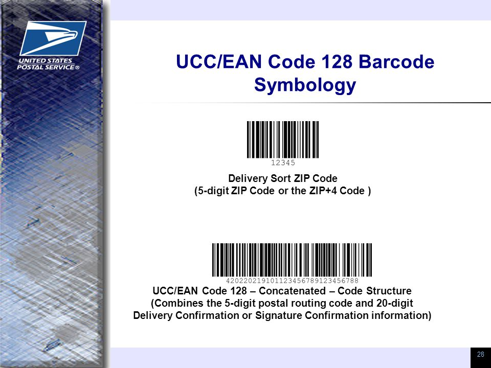 28 UCC/EAN Code 128 Barcode Symbology Delivery Sort ZIP Code (5-digit ZIP Code or the ZIP+4 Code ) UCC/EAN Code 128 – Concatenated – Code Structure (Combines the 5-digit postal routing code and 20-digit Delivery Confirmation or Signature Confirmation information)
