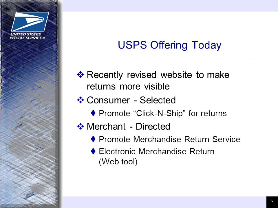 "6 USPS Offering Today  Recently revised website to make returns more visible  Consumer - Selected  Promote ""Click-N-Ship"" for returns  Merchant -"