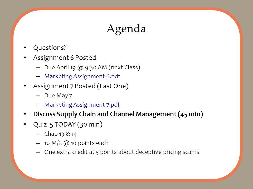 Agenda Questions.