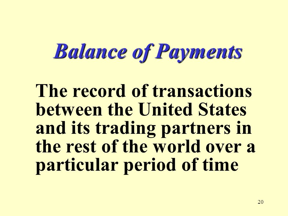 20 Balance of Payments The record of transactions between the United States and its trading partners in the rest of the world over a particular period