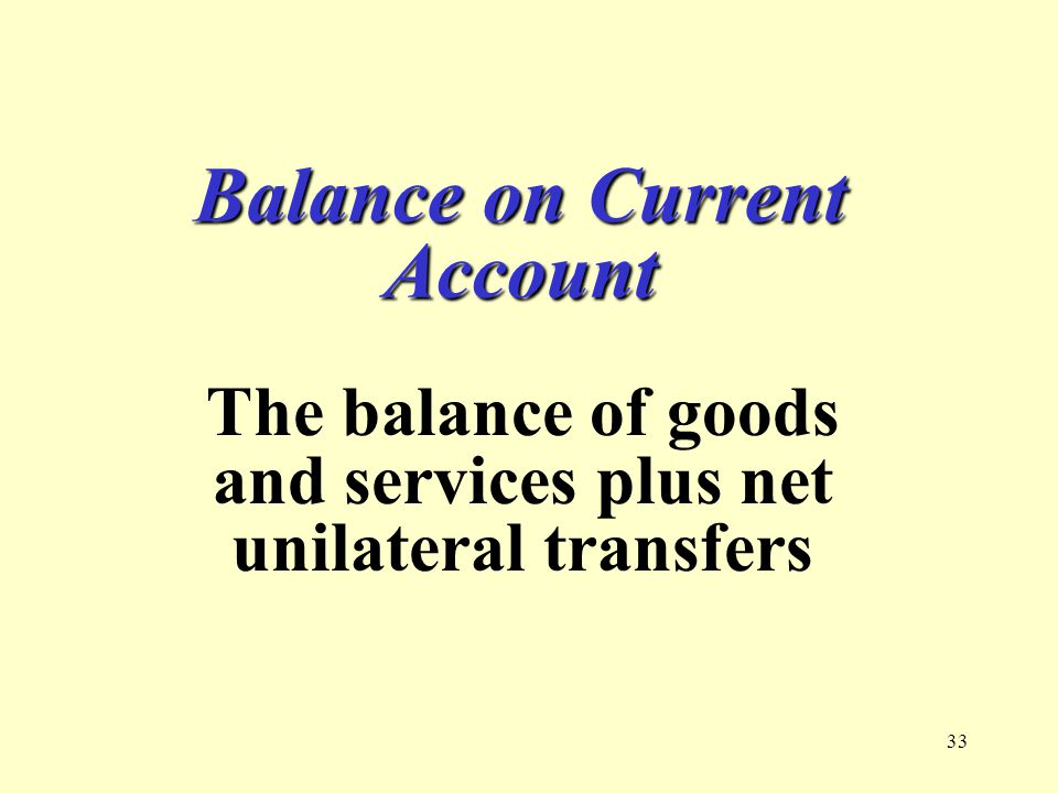 33 Balance on Current Account The balance of goods and services plus net unilateral transfers