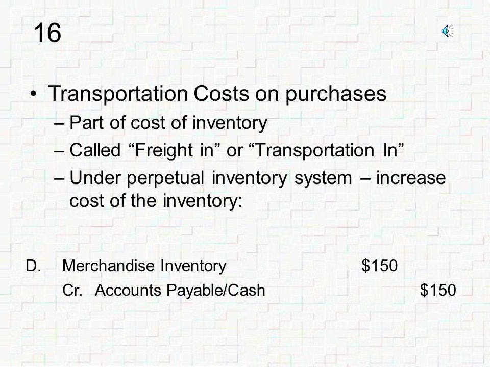 15 FOB destination –Seller transfers title to inventory when delivered At buyer's place of business –Seller pays shipping costs –E.g., you order car from Ford Invoice says FOB Los Angeles Ford pays shipping costs Ford owns car during shipment If something goes wrong – Ford's problem