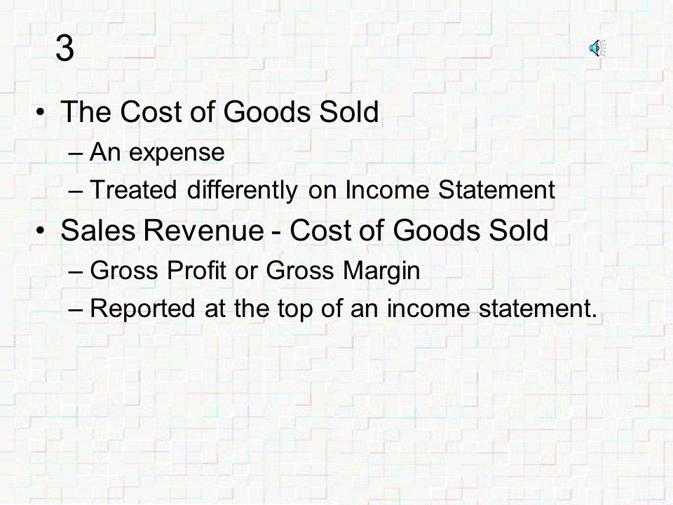 2 Service business earns fees –Revenues recorded Merchandising business sells inventory –Revenue from sales –Expense of Inventory Cost Cost of Goods Sold.