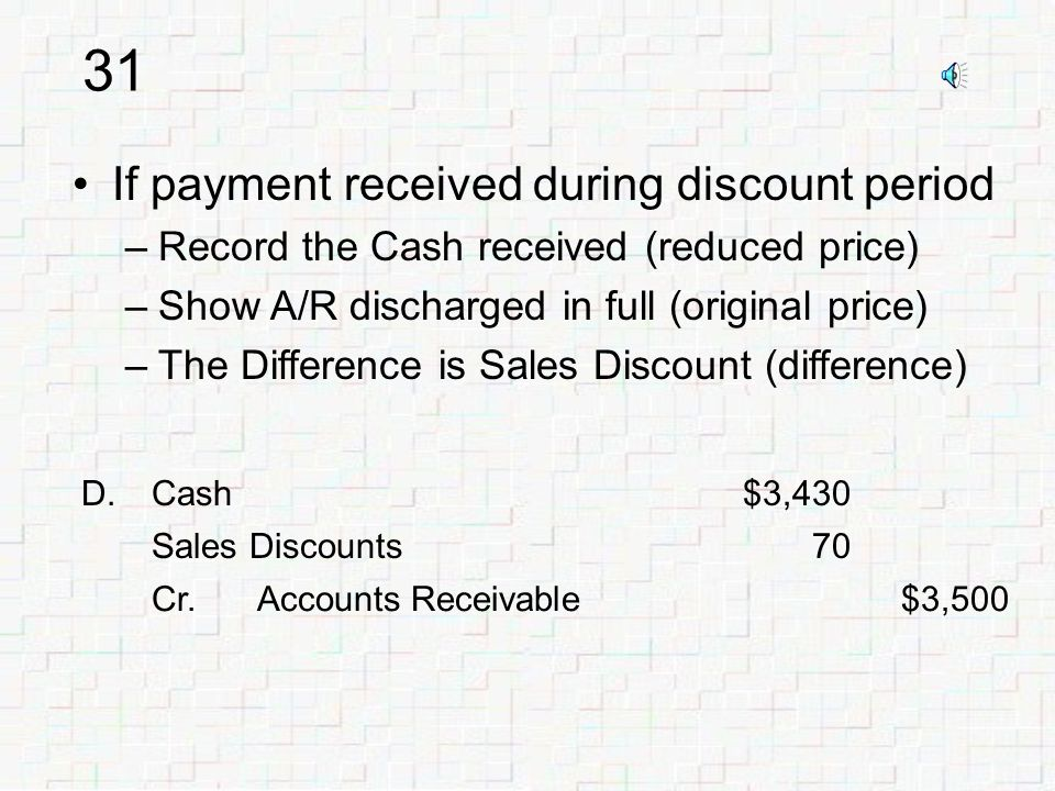 30 D.Accounts Receivable$3,500 Cr.Sales/Sales Revenue$3,500 When sale is made –Ignore potential sales discount