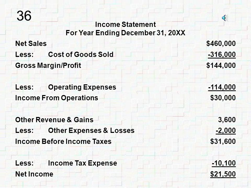 35 Single-step Income Statement –One Revenues section - lists all revenues –One Expenses section - lists all expenses Multiple-step Income Statement –Contains many subcategories