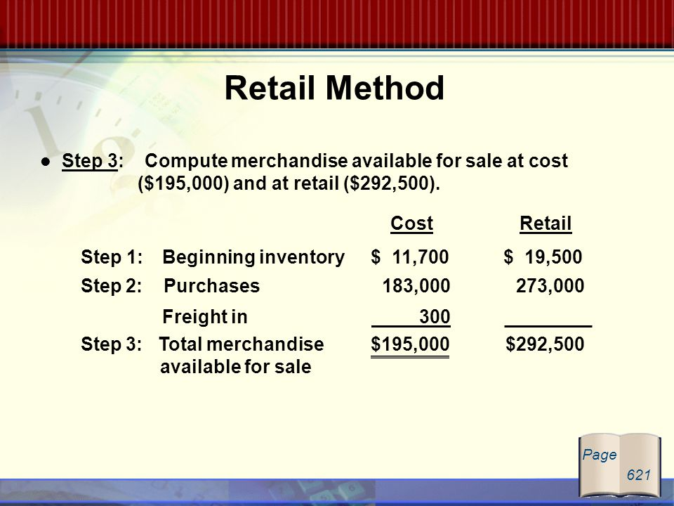 Step 3: Compute merchandise available for sale at cost ($195,000) and at retail ($292,500). Retail Method Cost Retail Step 1: Beginning inventory $ 11