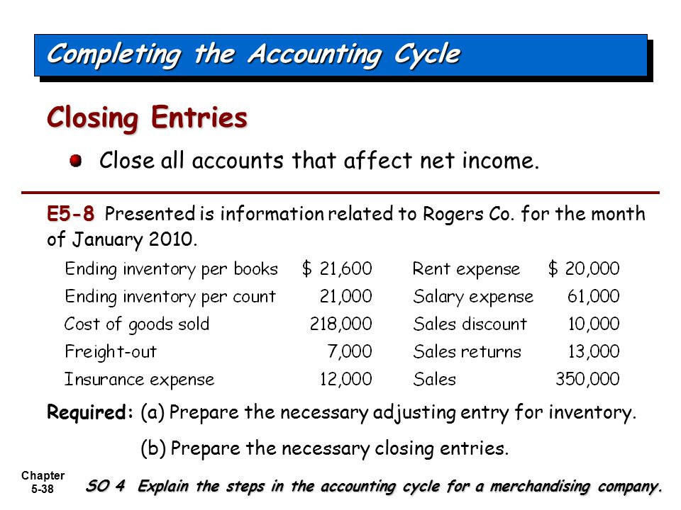 Chapter 5-38 Close all accounts that affect net income. Closing Entries Completing the Accounting Cycle SO 4 Explain the steps in the accounting cycle