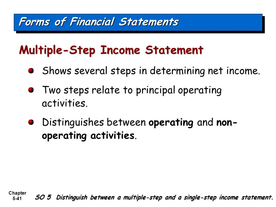 Chapter 5-41 Shows several steps in determining net income. Two steps relate to principal operating activities. Distinguishes between operating and no