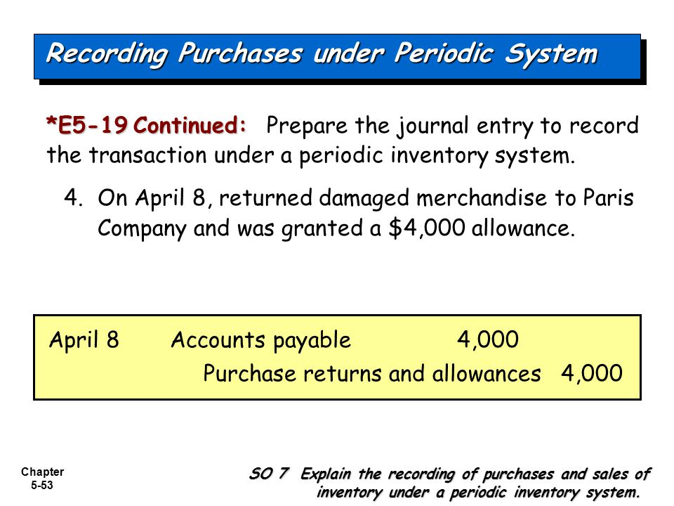 Chapter 5-53 *E5-19Continued: *E5-19 Continued: Prepare the journal entry to record the transaction under a periodic inventory system. 4. On April 8,