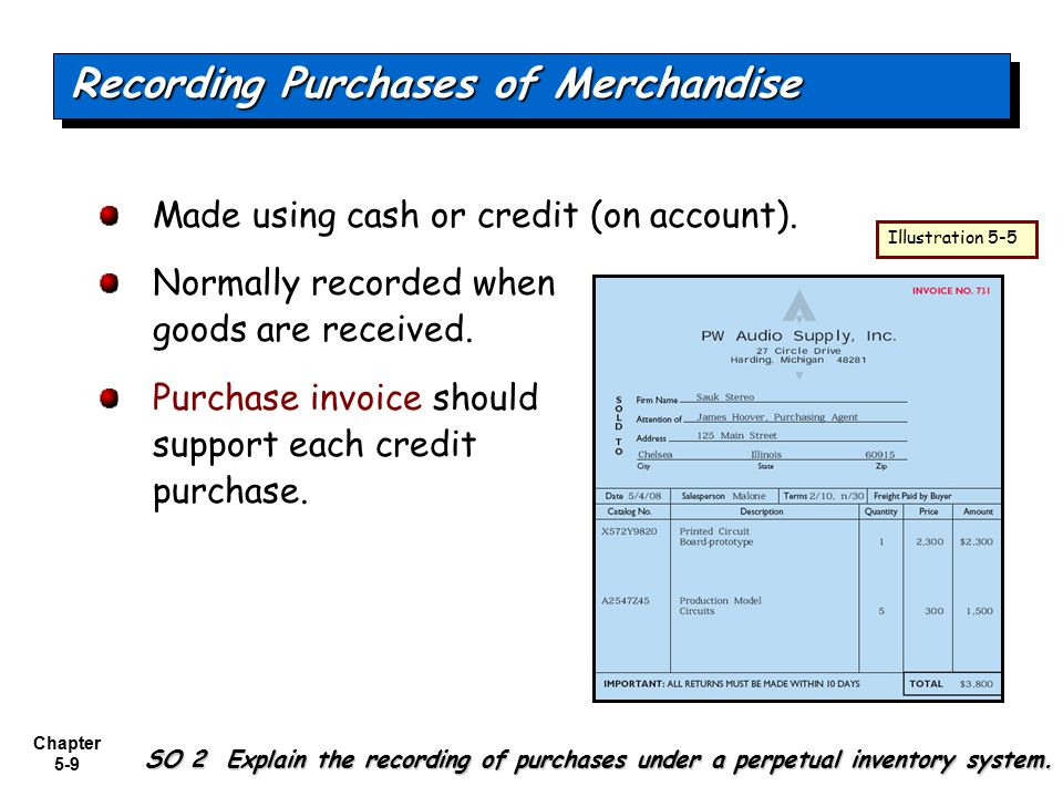 Chapter 5-9 Made using cash or credit (on account). Normally recorded when goods are received. Purchase invoice should support each credit purchase. R