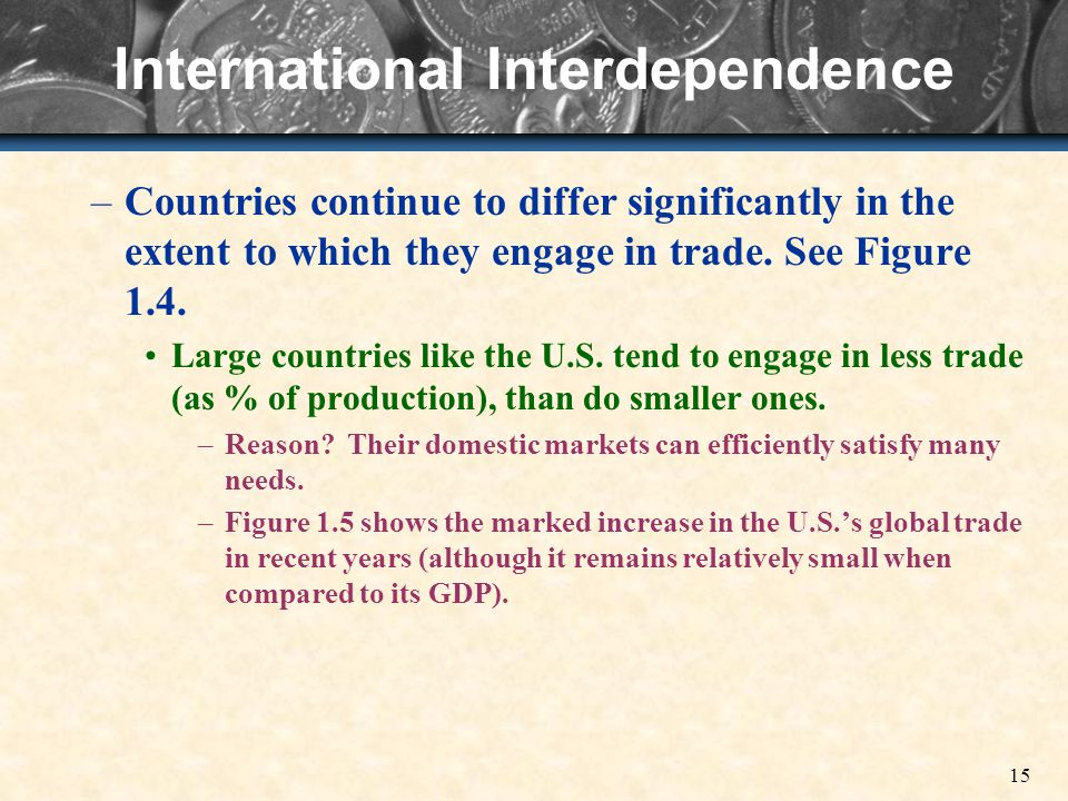 15 International Interdependence –Countries continue to differ significantly in the extent to which they engage in trade.