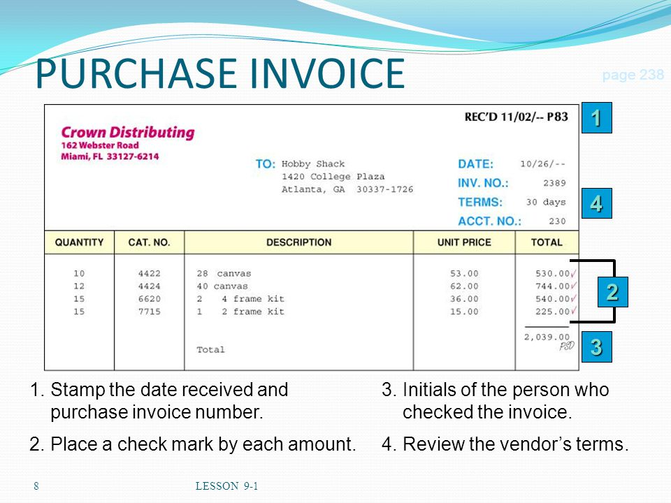 8LESSON 9-1 2 1.Stamp the date received and purchase invoice number.