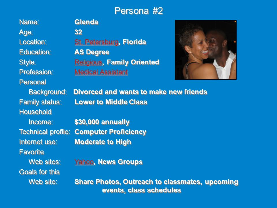 Name: Glenda Age: 32 Location: St. Petersburg, FloridaSt.
