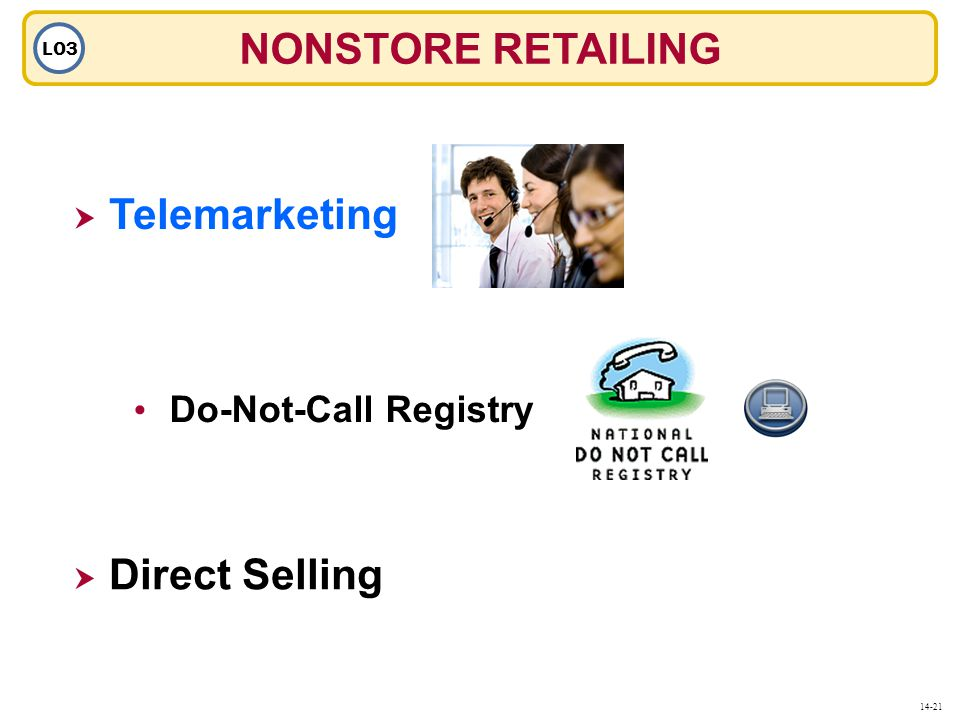 NONSTORE RETAILING LO3  Telemarketing Telemarketing  Direct Selling Do-Not-Call Registry 14-21