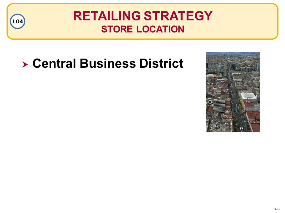 RETAILING STRATEGY STORE LOCATION LO4  Central Business District 14-25